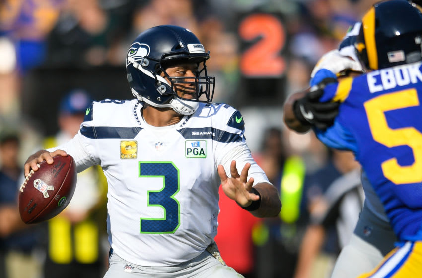 LOS ANGELES, CA - NOVEMBER 11: Quarterback Russell Wilson #3 of the Seattle Seahawks (Photo by John McCoy/Getty Images)