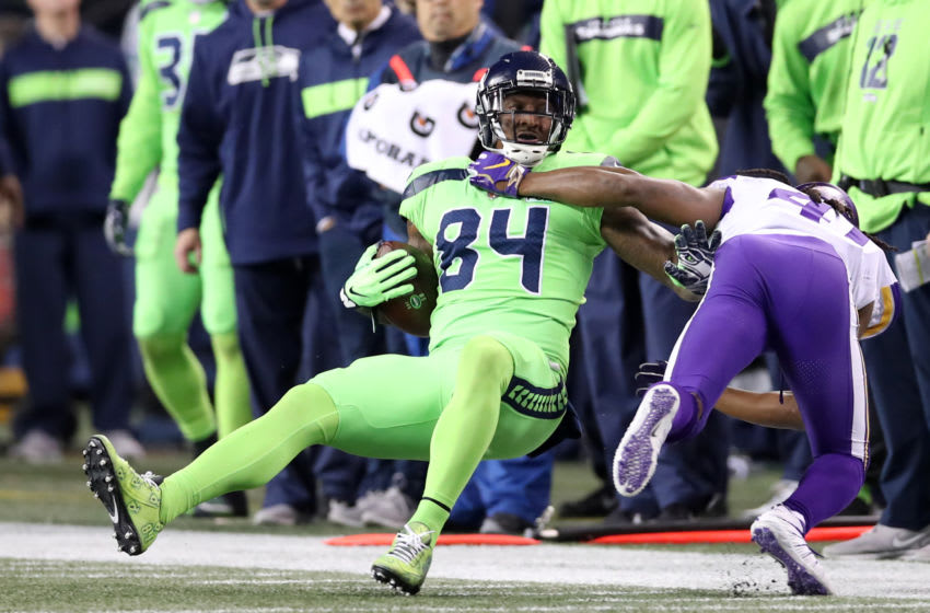 SEATTLE, WA - DECEMBER 10: Ed Dickson #84 of the Seattle Seahawks in action during the game against the Minnesota Vikings at CenturyLink Field on December 10, 2018 in Seattle, Washington. The Seahawks defeated the Vikings 21-7. (Photo by Rob Leiter/Getty Images)