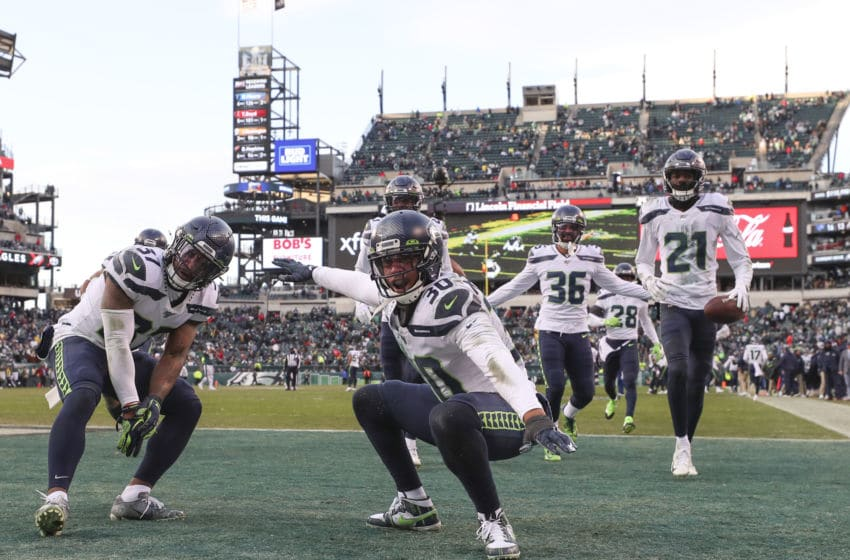 PHILADELPHIA, PA - NOVEMBER 24: Quandre Diggs #37, Bradley McDougald #30, Akeem King #36, and Tre Flowers #21 of the Seattle Seahawks. (Photo by Mitchell Leff/Getty Images)