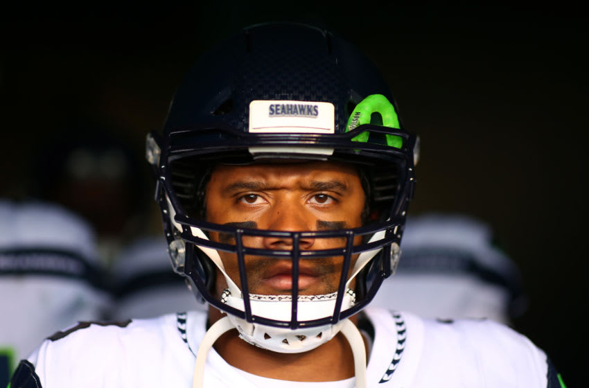 PHILADELPHIA, PENNSYLVANIA - NOVEMBER 24: Russell Wilson #3 of the Seattle Seahawks. (Photo by Mitchell Leff/Getty Images)