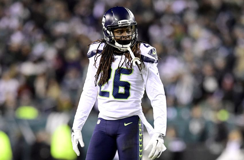 PHILADELPHIA, PENNSYLVANIA - JANUARY 05: Shaquill Griffin #26 of the Seattle Seahawks reacts against the Philadelphia Eagles in the NFC Wild Card Playoff game at Lincoln Financial Field on January 05, 2020 in Philadelphia, Pennsylvania. (Photo by Steven Ryan/Getty Images)