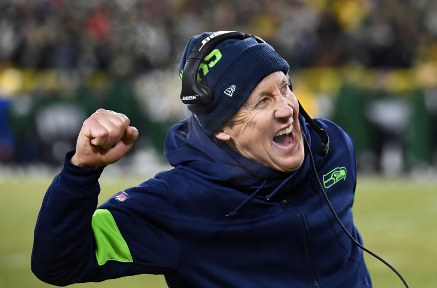 GREEN BAY, WISCONSIN - JANUARY 12: Head coach Pete Carroll of the Seattle Seahawks. (Photo by Stacy Revere/Getty Images)