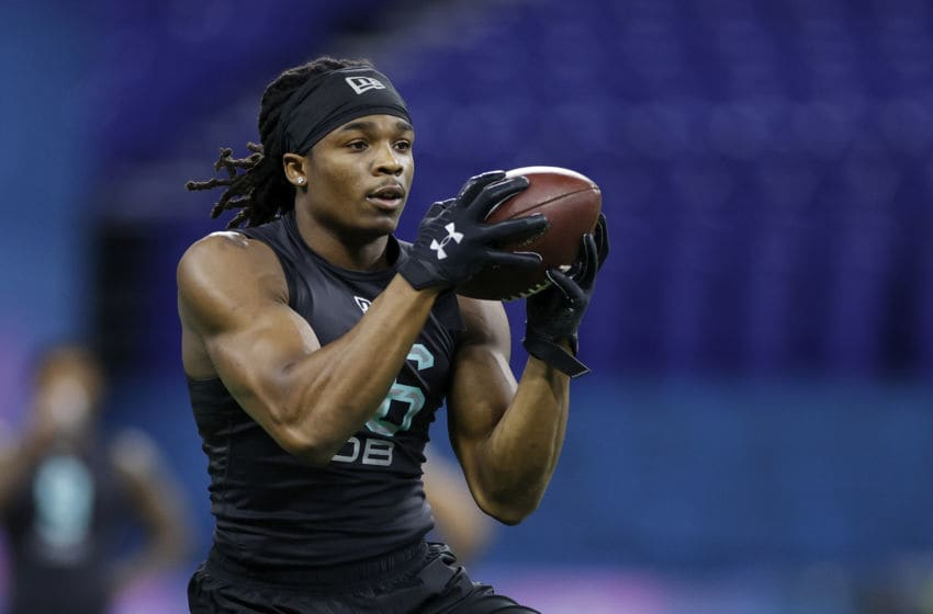 INDIANAPOLIS, IN - MARCH 01: Defensive back Kyle Dugger of Lenoir-Rhyne runs a drill during the NFL Combine at Lucas Oil Stadium on February 29, 2020 in Indianapolis, Indiana. (Photo by Joe Robbins/Getty Images)