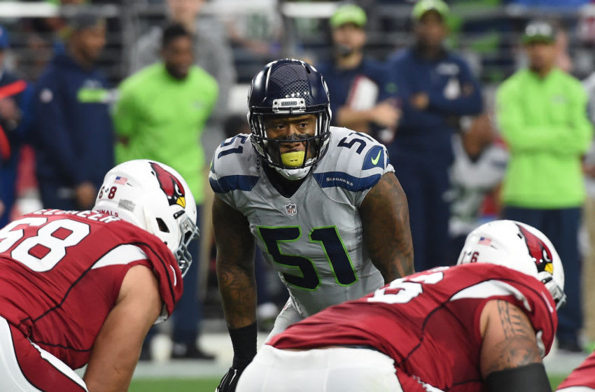 GLENDALE, AZ - JANUARY 03: Bruce Irvin #51 of the Seattle Seahawks gets ready to rush the passer against the Arizona Cardinals at University of Phoenix Stadium on January 3, 2016 in Glendale, Arizona. (Photo by Norm Hall/Getty Images)