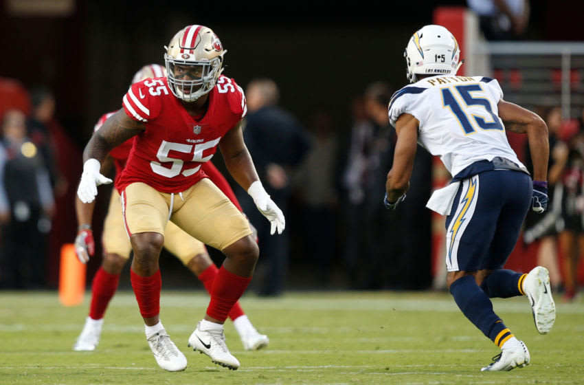 SANTA CLARA, CA - AUGUST 30: Pita Taumoepenu #55 of the San Francisco 49ers defends during the game against the Los Angeles Chargers at Levi Stadium on August 30, 2018 in Santa Clara, California. The Chargers defeated the 49ers 23-21. (Photo by Michael Zagaris/San Francisco 49ers/Getty Images)