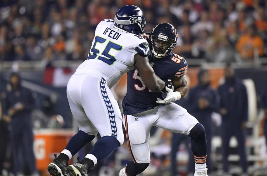 CHICAGO, IL - SEPTEMBER 17: Khalil Mack #52 of the Chicago Bears battles against Germain Ifedi #65 of the Seattle Seahawks at Soldier Field on September 17, 2018 in Chicago, Illinois. (Photo by Quinn Harris/Getty Images)