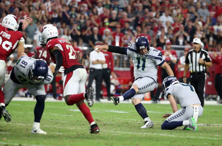 GLENDALE, AZ - SEPTEMBER 30: Kicker Sebastian Janikowski #11 of the Seattle Seahawks kicks the game winning field goal as time expires in the fourth quarter against the Arizona Cardinals at State Farm Stadium on September 30, 2018 in Glendale, Arizona. The Seahawks beat the Cardinals 20-17. (Photo by Ralph Freso/Getty Images)