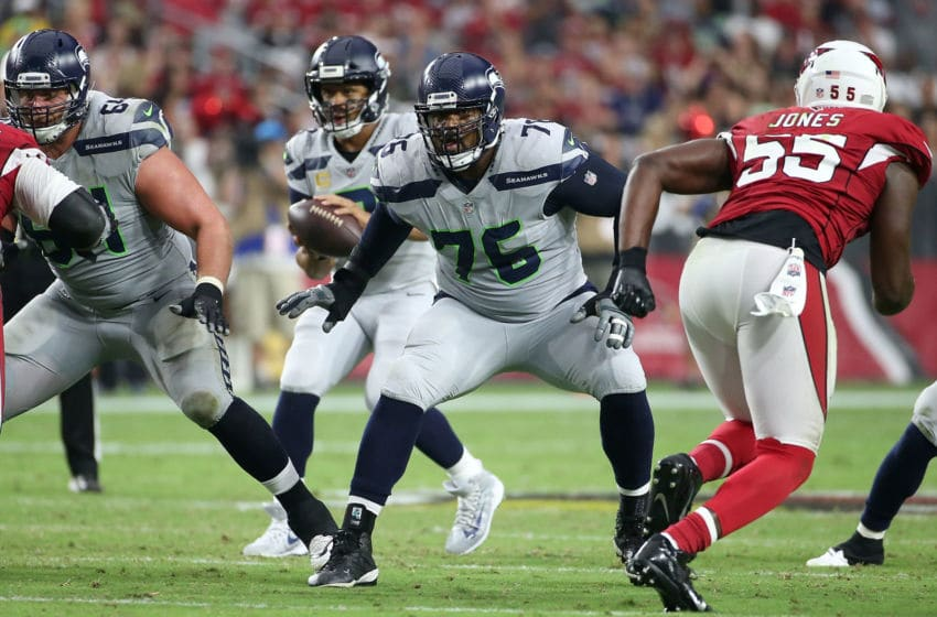 GLENDALE, AZ - SEPTEMBER 30: Offensive lineman Duane Brown #76 of the Seattle Seahawks during an NFL game against the Arizona Cardinals at State Farm Stadium on September 30, 2018 in Glendale, Arizona. (Photo by Ralph Freso/Getty Images)