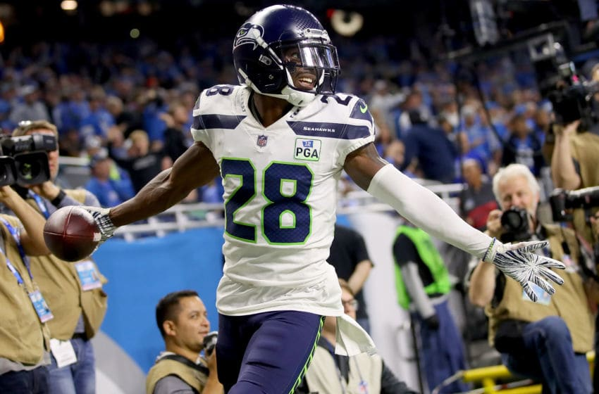 DETROIT, MI - OCTOBER 28: Justin Coleman #28 of the Seattle Seahawks celebrates his interception against the Detroit Lions during the fourth quarter at Ford Field on October 28, 2018 in Detroit, Michigan. (Photo by Gregory Shamus/Getty Images)