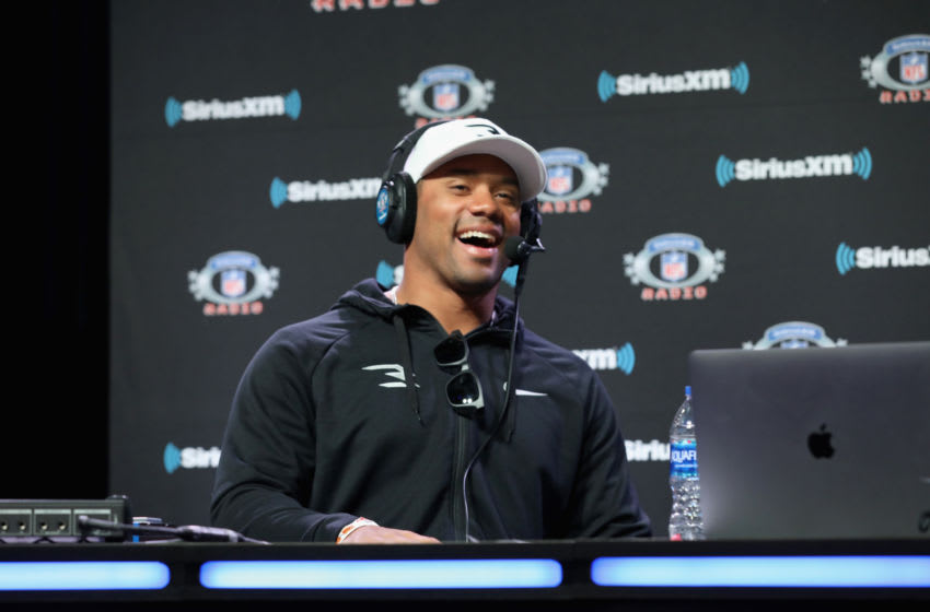 ATLANTA, GEORGIA - JANUARY 31: Russell Wilson attends SiriusXM at Super Bowl LIII Radio Row on January 31, 2019 in Atlanta, Georgia. (Photo by Cindy Ord/Getty Images for SiriusXM)