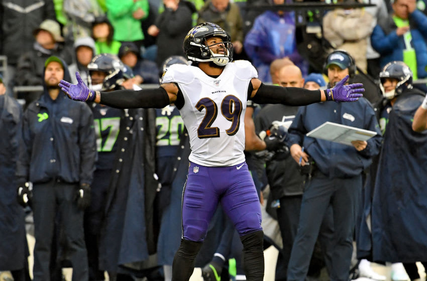 SEATTLE, WASHINGTON - OCTOBER 20: Earl Thomas #29 of the Baltimore Ravens celebrates a defensive stand against the Seattle Seahawks during the game at CenturyLink Field on October 20, 2019 in Seattle, Washington. The Baltimore Ravens top the Seattle Seahawks 30-16. (Photo by Alika Jenner/Getty Images)
