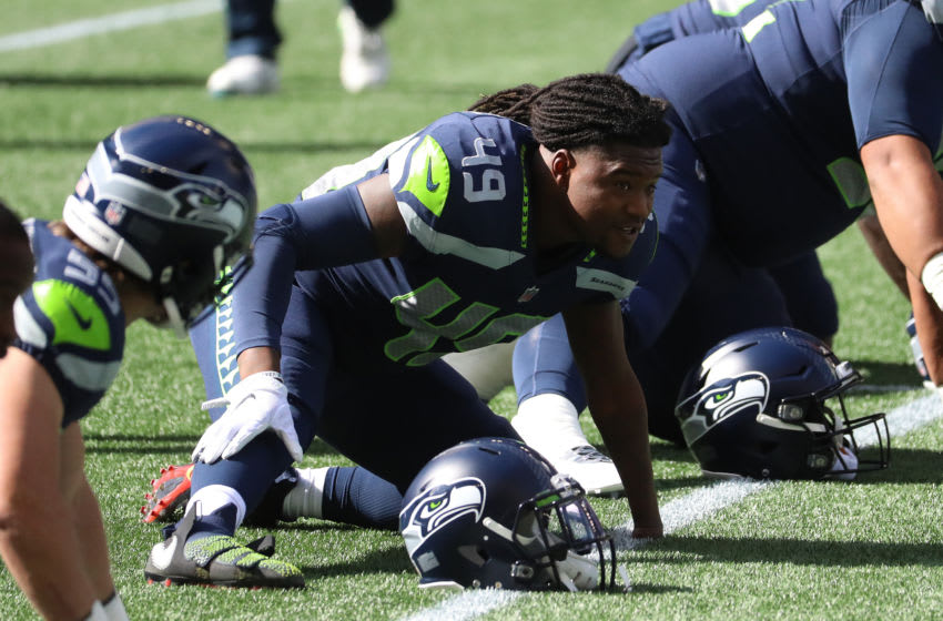 SEATTLE, WASHINGTON - SEPTEMBER 27: Shaquem Griffin #49 of the Seattle Seahawks looks on before their game against the Dallas Cowboys at CenturyLink Field on September 27, 2020 in Seattle, Washington. (Photo by Abbie Parr/Getty Images)