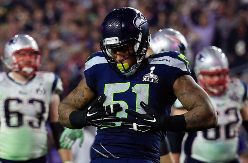 GLENDALE, AZ - FEBRUARY 01: Bruce Irvin #51 of the Seattle Seahawks reacts after a sack in the fourth quarter against the New England Patriots during Super Bowl XLIX at University of Phoenix Stadium on February 1, 2015 in Glendale, Arizona. (Photo by Rob Carr/Getty Images)