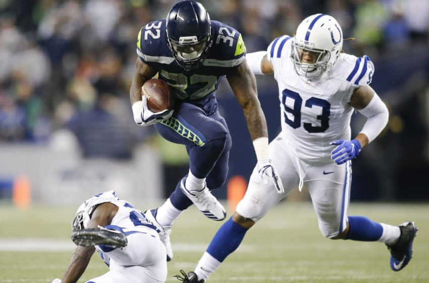 SEATTLE, WA - OCTOBER 01: Running back Chris Carson (Photo by Jonathan Ferrey/Getty Images)