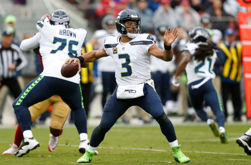 SANTA CLARA, CA - NOVEMBER 26: Quarterback Russell Wilson #3 of the Seattle Seahawks in action against the San Francisco 49ers at Levi's Stadium on November 26, 2017 in Santa Clara, California. (Photo by Lachlan Cunningham/Getty Images)