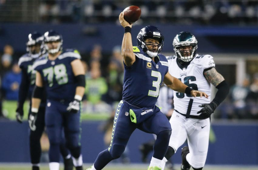 SEATTLE, WA - DECEMBER 03: Quarterback Russell Wilson #3 of the Seattle Seahawks passes against the Philadelphia Eagles in the second quarter at CenturyLink Field on December 3, 2017 in Seattle, Washington. (Photo by Jonathan Ferrey/Getty Images)