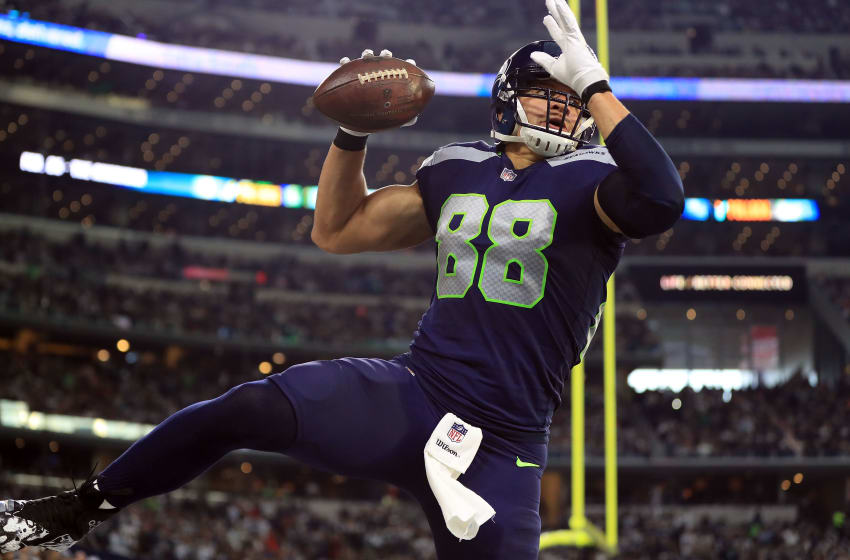 ARLINGTON, TX - DECEMBER 24: Jimmy Graham #88 of the Seattle Seahawks celebrates a second quarter touchdown against the Dallas Cowboys at AT&T Stadium on December 24, 2017 in Arlington, Texas. (Photo by Ronald Martinez/Getty Images)