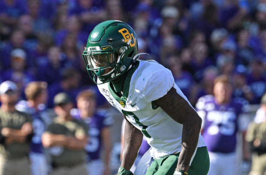 MANHATTAN, KS - OCTOBER 05: safety Chris Miller #3 of the Baylor Bears gets set on defense against the Kansas State Wildcats during the first half at Bill Snyder Family Football Stadium on October 5, 2019 in Manhattan, Kansas. (Photo by Peter G. Aiken/Getty Images)