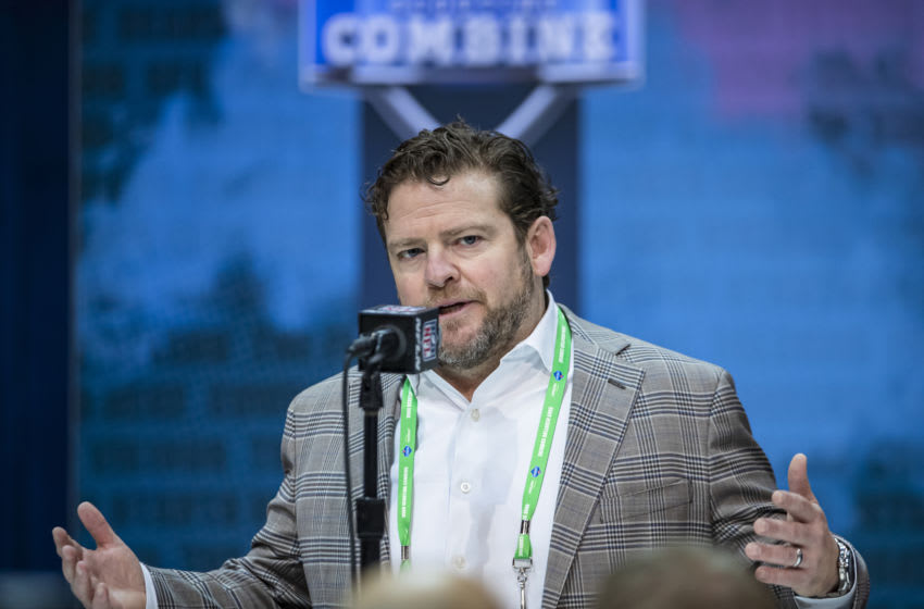 INDIANAPOLIS, IN - FEBRUARY 25: General manager John Schneider of the Seattle Seahawks speaks to the media at the Indiana Convention Center on February 25, 2020 in Indianapolis, Indiana. (Photo by Michael Hickey/Getty Images) *** Local Capture *** John Schneider