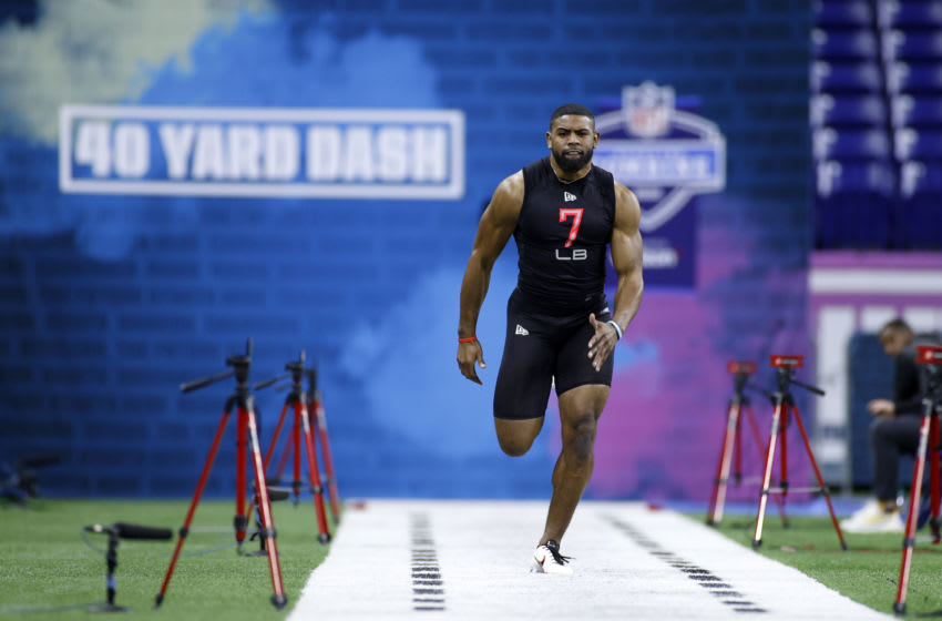 INDIANAPOLIS, IN - FEBRUARY 29: Linebacker Jordyn Brooks of Texas Tech runs the 40-yard dash during the NFL Combine at Lucas Oil Stadium on February 29, 2020 in Indianapolis, Indiana. (Photo by Joe Robbins/Getty Images)