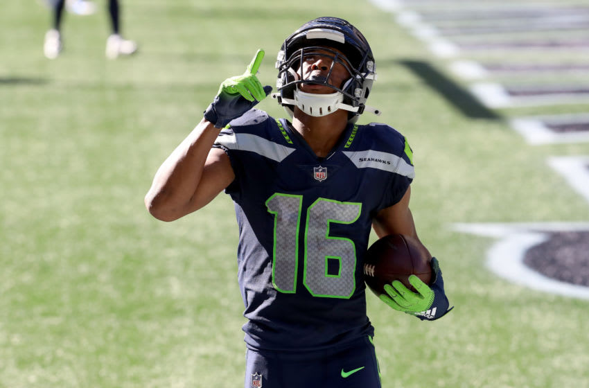 SEATTLE, WASHINGTON - SEPTEMBER 27: Tyler Lockett #16 of the Seattle Seahawks. (Photo by Abbie Parr/Getty Images)