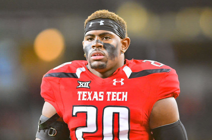 ARLINGTON, TX - NOVEMBER 25: Jordyn Brooks #20 of the Texas Tech Red Raiders, now with the Seahawks. (Photo by John Weast/Getty Images)