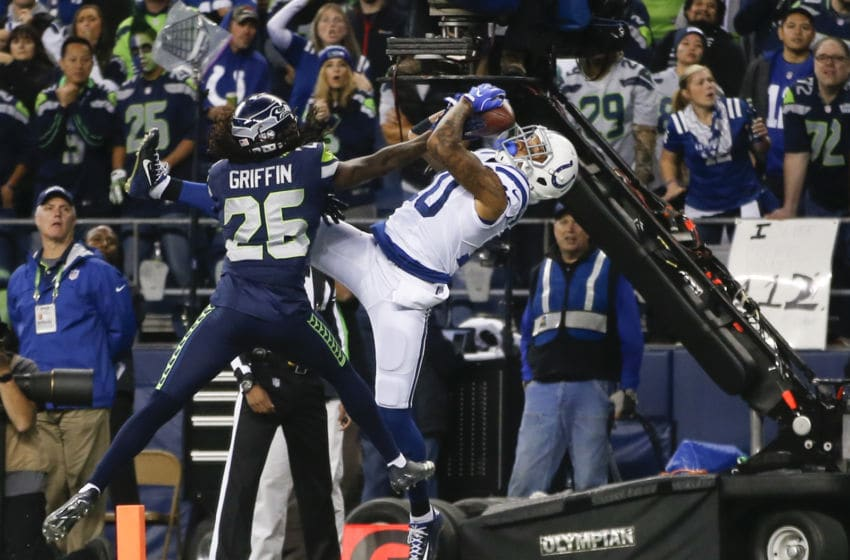 SEATTLE, WA - OCTOBER 1: Wide receiver Donte Moncrief #10 of the Indianapolis Colts pulls in an 18 yard touchdown against cornerback Shaquill Griffin #26 of the Seattle Seahawks in the second quarter of the game at CenturyLink Field on October 1, 2017 in Seattle, Washington. (Photo by Otto Greule Jr /Getty Images)