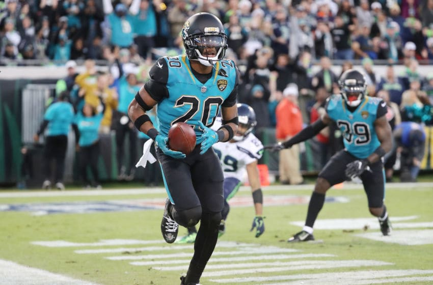 JACKSONVILLE, FL - DECEMBER 10: Jalen Ramsey #20 of the Jacksonville Jaguars runs through the end zone after an interception during the first half of their game against the Seattle Seahawks at EverBank Field on December 10, 2017 in Jacksonville, Florida. (Photo by Sam Greenwood/Getty Images)