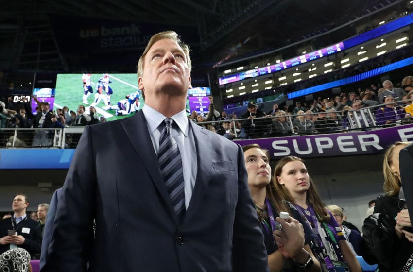 MINNEAPOLIS, MN - FEBRUARY 04: NFL commissioner Roger Godell looks on after the Philadelphia Eagles defeated the New England Patriots in Super Bowl LII at U.S. Bank Stadium on February 4, 2018 in Minneapolis, Minnesota.The Philadelphia Eagles defeated the New England Patriots 41-33. (Photo by Rob Carr/Getty Images)