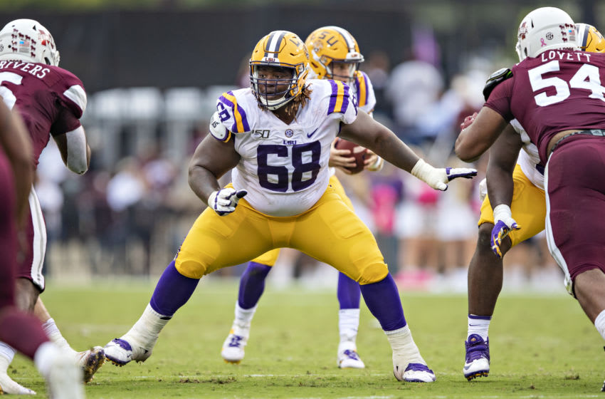 STARKVILLE, MS - OCTOBER 19: Damien Lewis #68 of the LSU Tigers drops back to pass block during a game against the Mississippi State Bulldogs at Davis Wade Stadium on October 19, 2019 in Starkville, Mississippi. The Tigers defeated the Bulldogs 36-13. (Photo by Wesley Hitt/Getty Images)