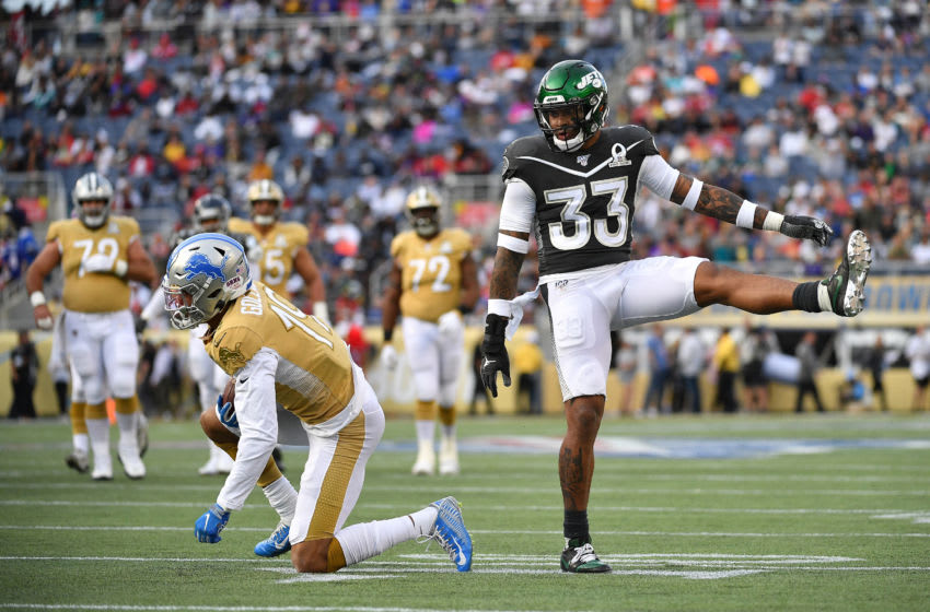 ORLANDO, FLORIDA - JANUARY 26: Jamal Adams #33 of the New York Jets reacts to a tackle during the 2020 NFL Pro Bowl at Camping World Stadium on January 26, 2020 in Orlando, Florida. (Photo by Mark Brown/Getty Images)