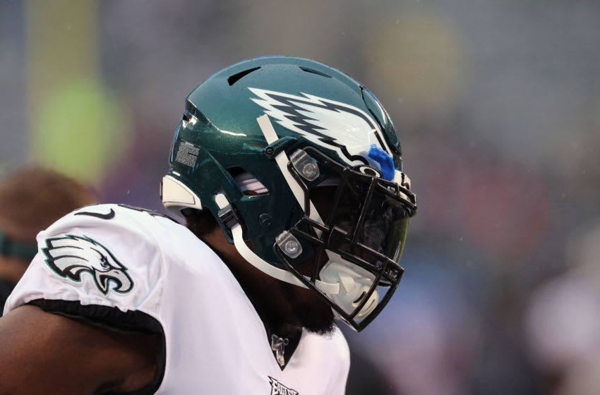 EAST RUTHERFORD, NEW JERSEY - DECEMBER 29: Defensive Tackle Fletcher Cox #91 of the Philadelphia Eagles follows the action against the New York Giants in the rain in the first half at MetLife Stadium on December 29, 2019 in East Rutherford, New Jersey. (Photo by Al Pereira/Getty Images)
