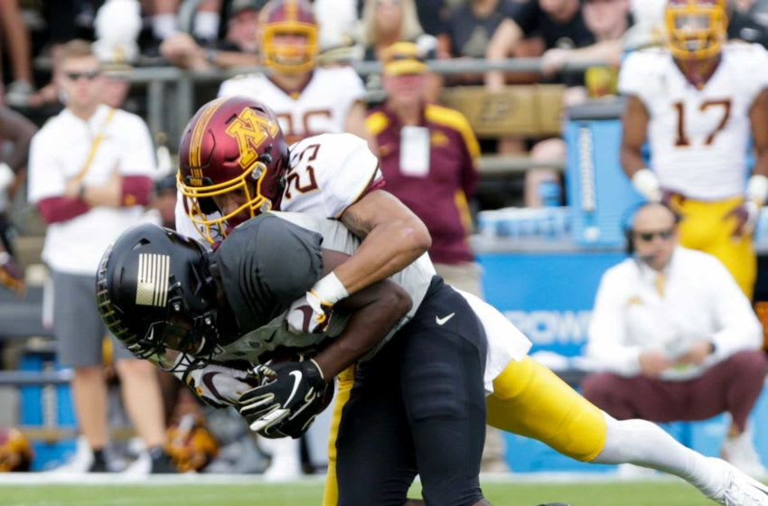 Minnesota defensive back Benjamin St-Juste (25) tackles Purdue wide receiver David Bell (3) during the second quarter of a NCAA football game, Saturday, Sept. 28, 2019 at Ross-Ade Stadium in West Lafayette. Cfb Purdue Vs Minnesota