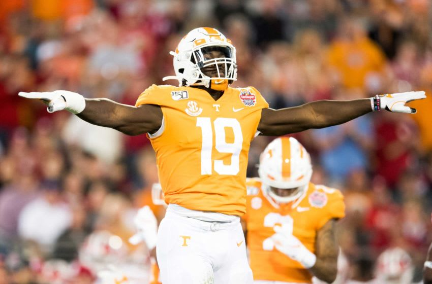 Tennessee linebacker Darrell Taylor (19) celebrates a play during the Gator Bowl game between Tennessee and Indiana at the TIAA Bank Field in Jacksonville, Fla., Jan. 2, 2020. Gatorbowlcal0102 1076