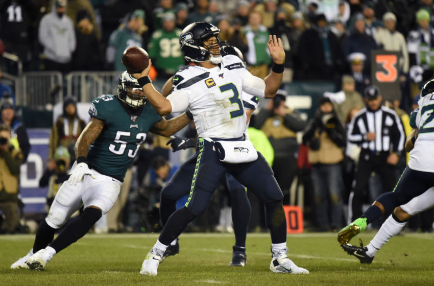Jan 5, 2020; Philadelphia, Pennsylvania, USA; Seattle Seahawks quarterback Russell Wilson (3) passes in the fourth quarter against the Philadelphia Eagles in a NFC Wild Card playoff football game at Lincoln Financial Field. Mandatory Credit: James Lang-USA TODAY Sports