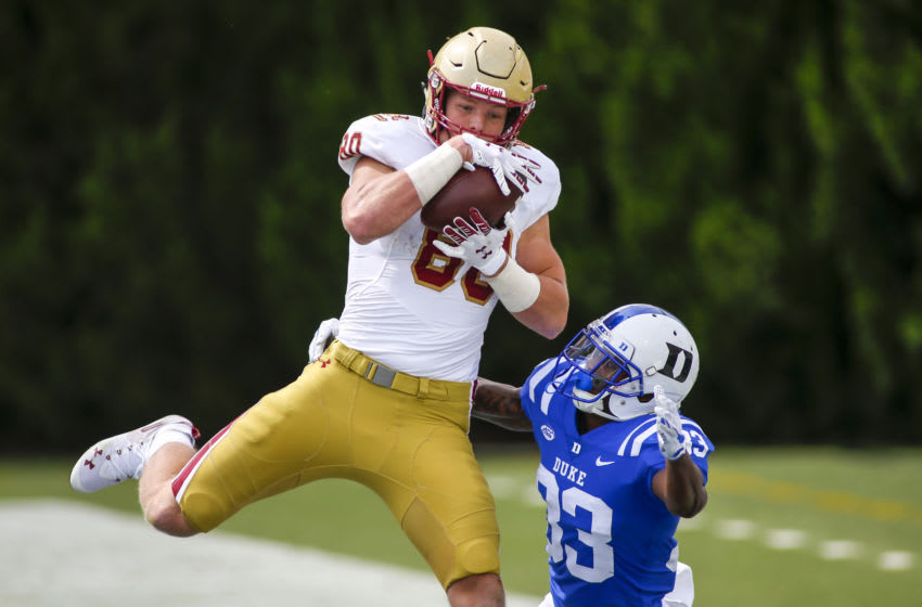 Sep 19, 2020; Durham, North Carolina, USA; Boston College Eagles tight end Hunter Long (80) catches a touchdown pass against Duke Blue Devils cornerback Leonard Johnson (33) in the third quarter at Wallace Wade Stadium. The Boston College Eagles won 26-6. Mandatory Credit: Nell Redmond-USA TODAY Sports