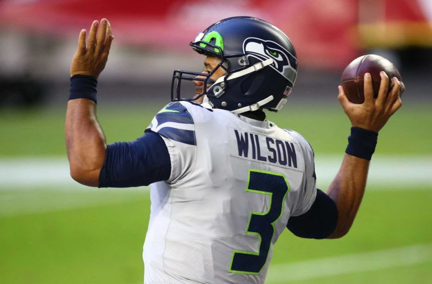 Oct 25, 2020; Glendale, AZ, USA; Seattle Seahawks quarterback Russell Wilson (3) warms-up during a game at State Farm Stadium. Mandatory Credit: Rob Schumacher/The Arizona Republic via USA TODAY NETWORK Nfl Seattle Seahawks At Arizona Cardinals