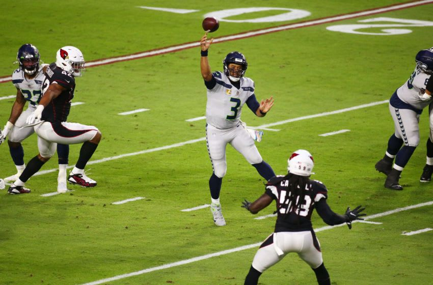 Oct 25, 2020; Glendale, AZ, USA; Seattle Seahawks quarterback Russell Wilson (3) throws a pass against the Arizona Cardinals in the first half during a game at State Farm Stadium. Mandatory Credit: Rob Schumacher/The Arizona Republic via USA TODAY NETWORK Nfl Seattle Seahawks At Arizona Cardinals
