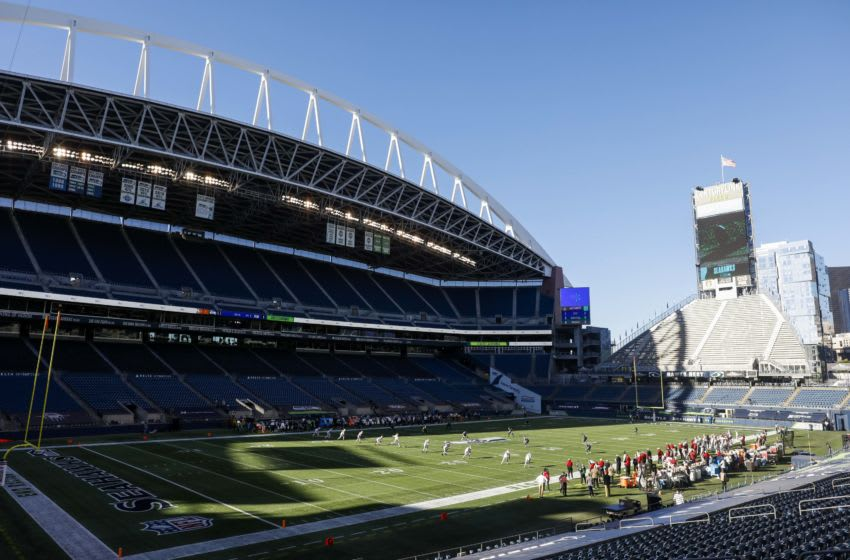 Nov 1, 2020; Seattle, Washington, USA; General view of CenturyLink Field during kickoff for a game between the San Francisco 49ers and Seattle Seahawks. Mandatory Credit: Joe Nicholson-USA TODAY Sports