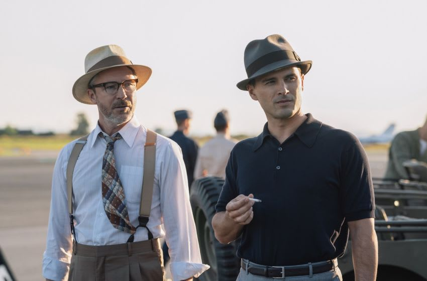 "Aidan Gillen as Dr. J. Allen Hynek and Michael Malarkey as Captain Michael Quinn in HISTORY's ""Project Blue Book."" Season two premieres Tues. January 21 at 10/9c. Photo by Eduardo Araquel/HISTORY.. Copyright 2019"