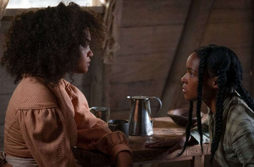 Kiersey Clemons (left) and Janelle Monae (right) in ANTEBELLUM.. Credit: Matt Kennedy, Lionsgate