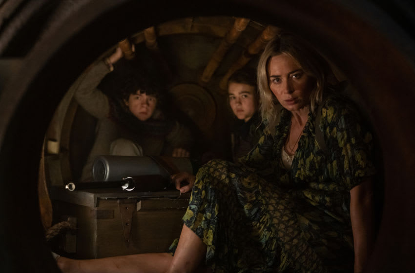 L-r, Marcus (Noah Jupe), Regan (Millicent Simmonds), and Evelyn (Emily Blunt) brave the unknown in