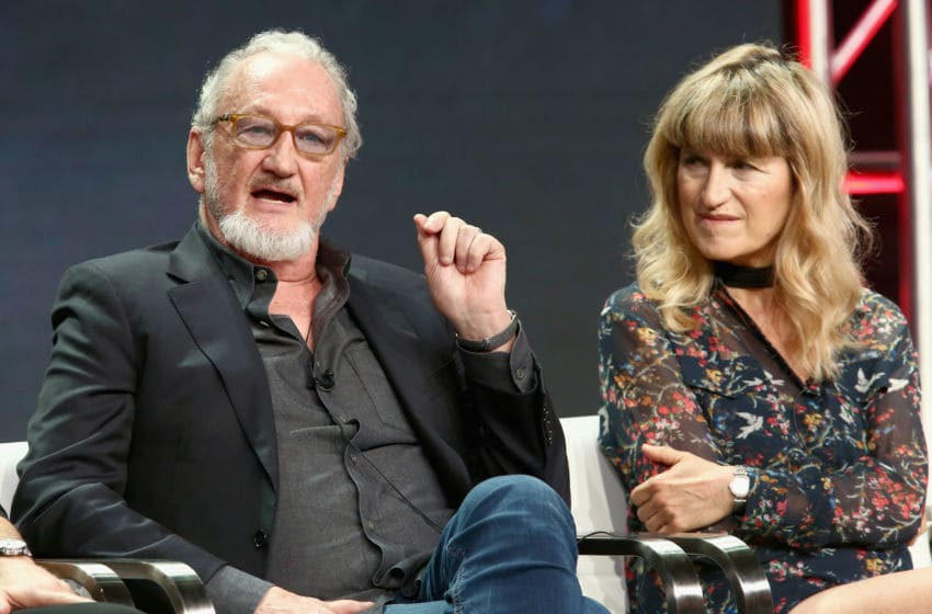 LOS ANGELES, CA - JULY 28: Actor Robert Englund (L) and director Catherine Hardwicke of 'AMC Visionaries: Eli Roth's History of Horror' speak onstage during the AMC Networks portion of the Summer 2018 TCA Press Tour at The Beverly Hilton Hotel on July 28, 2018 in Los Angeles, California. (Photo by Tommaso Boddi/Getty Images for AMC)