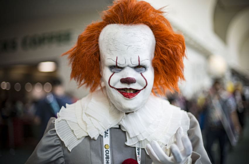 SAN DIEGO, CALIFORNIA - JULY 21: Cosplayer Jeffrey Neitzel as Pennywise from