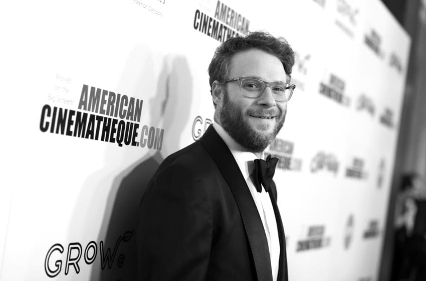 BEVERLY HILLS, CALIFORNIA - NOVEMBER 08: (EDITOR NOTE: This image was shot in black and white. A color version is not available) Seth Rogen attends the 33rd American Cinematheque Award Presentation Honoring Charlize Theron and The 5th Annual Sid Grauman Award Presented by Hill Valley to Adam Aron on behalf of AMC Theatres at The Beverly Hilton Hotel on November 08, 2019 in Beverly Hills, California. (Photo by Joe Scarnici/Getty Images for American Cinematheque)