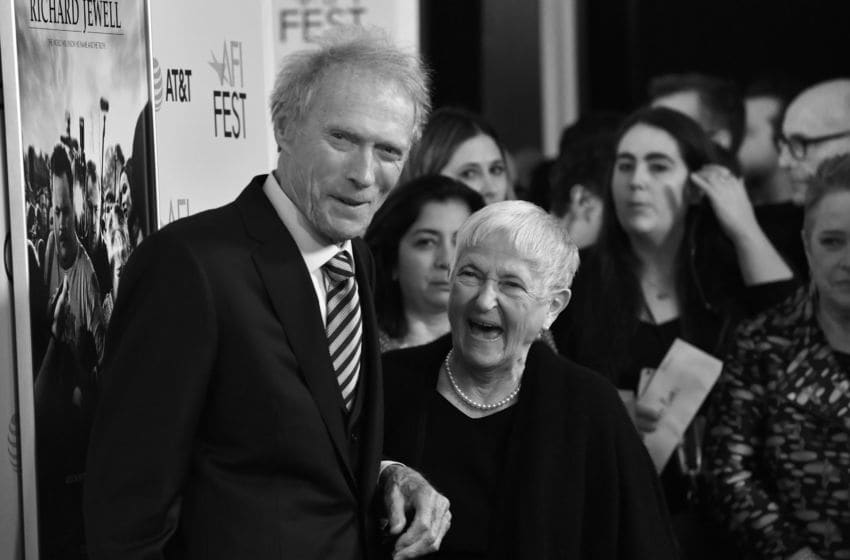 HOLLYWOOD, CALIFORNIA - NOVEMBER 20: (Editor's Note: Image converted to black and white.) Clint Eastwood and Barbara