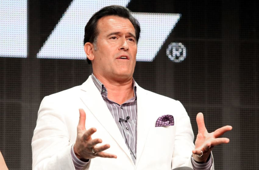BEVERLY HILLS, CA - JULY 31: Actor Bruce Campbell speaks onstage during the 'Ash vs. Evil Dead' panel discussion at the STARZ portion of the 2015 Summer TCA Tour at The Beverly Hilton Hotel on July 31, 2015 in Beverly Hills, California. (Photo by Frederick M. Brown/Getty Images)