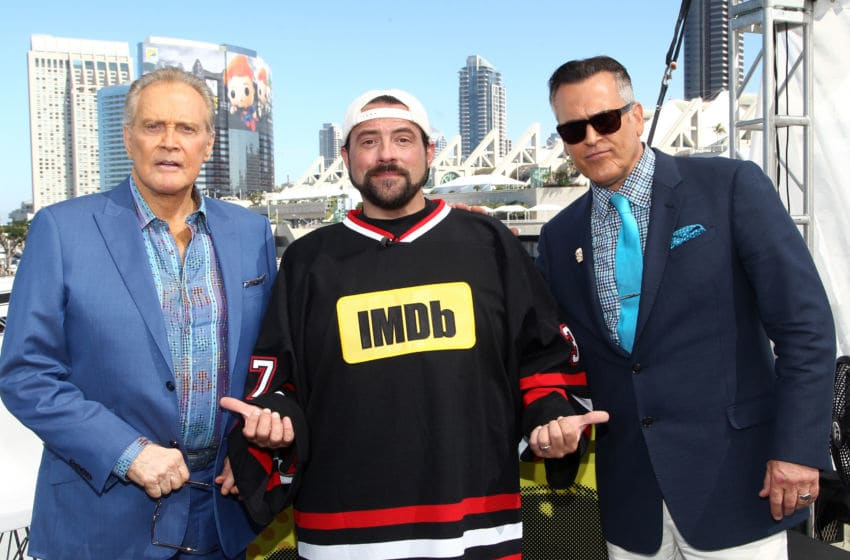 SAN DIEGO, CA - JULY 22: (L-R) Actor Lee Majors, host Kevin Smith and actor Bruce Campbell of Ash Vs. Evil Dead attend the IMDb Yacht at San Diego Comic-Con 2016: Day Two at The IMDb Yacht on July 22, 2016 in San Diego, California. (Photo by Tommaso Boddi/Getty Images for IMDb)