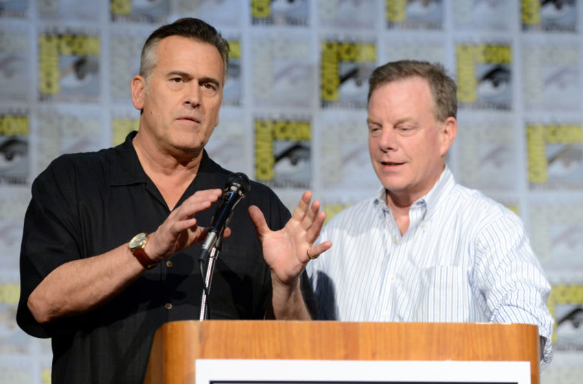 SAN DIEGO, CA - JULY 23: Actor Bruce Campbell and producer Robert Tapert speak on stage at the