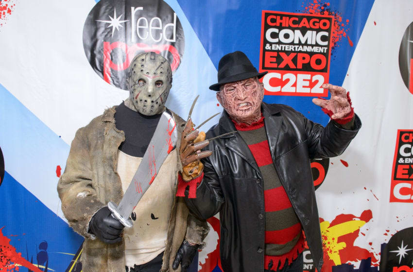 CHICAGO, IL - APRIL 21: Cosplayers cosplays as Jason Voorhees and Freddy Krueger during the 2017 C2E2 Comic and Entertainment Expo at McCormick Place on April 21, 2017 in Chicago, Illinois. (Photo by Daniel Boczarski/Getty Images)